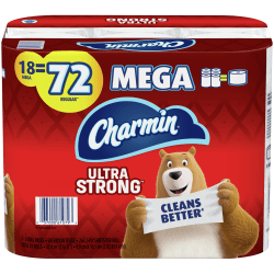 "Charmin Ultra Strong 2-Ply Mega-Roll Toilet Paper, 4"" x 558', White, 286 Sheets Per Roll, Pack Of 18 Rolls"