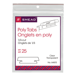 "Smead® Clear Hanging Poly Tabs, 3 1/2"" For 1/3 Cut Tabs, Pack Of 25"