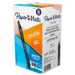 Paper Mate Gel Pen, Profile Retractable Pen, 0.5mm, Black, 36 Count