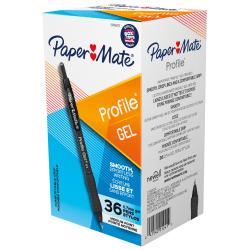 Paper Mate Gel Pen, Profile Retractable Pen, 0.7mm, Black, 36 Count