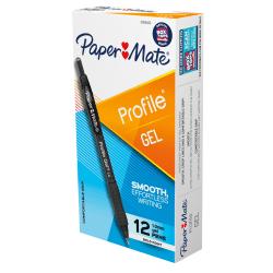 Paper Mate Gel Pen, Profile Retractable Pen, 1.0mm, Black, 12 Count