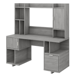 "kathy ireland® Home by Bush Furniture Madison Avenue 60""W Computer Desk With Hutch, Modern Gray, Standard Delivery"