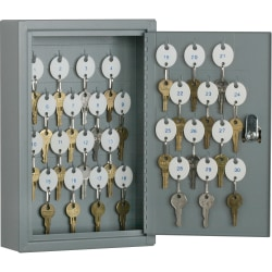 """SKILCRAFT Key Cabinet - 12.3"""" x 8"""" x 2.6"""" - Hinged Door(s) - Cylinder Lock, Scratch Resistant, Corrosion Resistant - Gray - Baked Enamel - Steel - Recycled"""