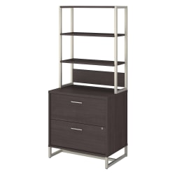"""kathy ireland® Office by Bush Business Furniture Method 30""""W Lateral 2-Drawer File Cabinet With Hutch, Storm Gray, Standard Delivery"""