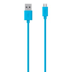 Belkin® Micro USB-To-USB ChargeSync Cable For Most Samsung Cell Phones, 4', Blue