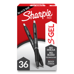 Sharpie S Gel Pens, Medium Point, 1.0 mm, Black Barrel, Black Ink, Pack Of 36 Pens