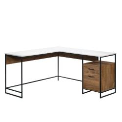 "Sauder® Tremont Row 60""W L-Shaped Office Desk With File Drawer, Sindoori Mango/White/Black"