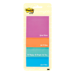 """Post-it® Notes Inspirational Notes, 3"""" x 3"""", Assorted Colors, 30 Sheets Per Pad, Pack Of 4 Pads"""