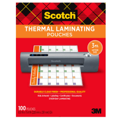 "Scotch™ Thermal Laminating Pouches, 8-7/8"" x 11-3/8"", Clear, Pack Of 100 Sheets, TP3854-100"