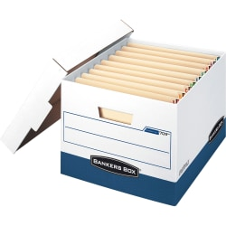 Bankers Box® Stor/File™ Max Lock Heavy-Duty Storage Boxes With Lift-Off Lids, Letter/Legal Size, White/Blue, Case Of 12
