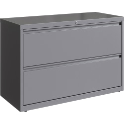 "Lorell 42""W Lateral 2-Drawer File Cabinet, Metal, Silver"