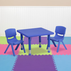 "Flash Furniture Square Plastic Height-Adjustable Activity Table Set With 2 Chairs, 23-3/4"" x 24"", Blue"