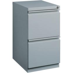 "Lorell® 19-7/8""D Vertical 2-Drawer Mobile Pedestal File Cabinet, Metal, Platinum"