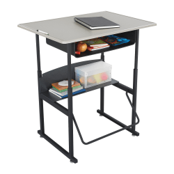 """Safco® AlphaBetter® Adjustable-Height Stand-Up Desk, with Book Box, 36"""" x 24"""" Top, Beige/Black"""