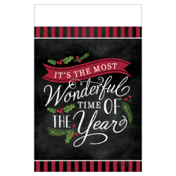"""Amscan Christmas Most Wonderful Time Plastic Table Covers, 54"""" x 102"""", Black, 1 Cover Per Pack, Case Of 3 Packs"""
