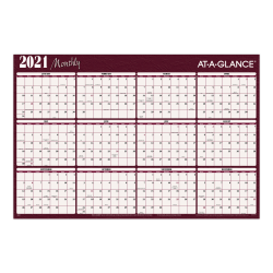 """AT-A-GLANCE® Horizontal Erasable Yearly Wall Calendar, 48"""" x 32"""", Red/Blue, January To December 2021, A152"""