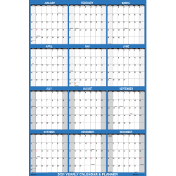 "SwiftGlimpse 2-Sided Yearly Erasable Wall Calendar, 24"" x 36"", Navy, January To December 2021"