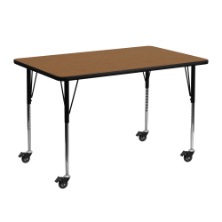 """Flash Furniture Mobile 48""""W Rectangular Thermal Laminate Activity Table With Standard Height-Adjustable Legs, Oak"""