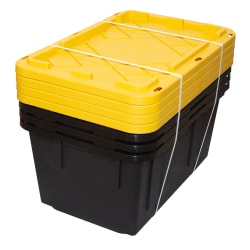 """Office Depot® Brand by GreenMade® Professional Storage Tote With Handles/Snap Lid, 27 Gallon, 30-1/10"""" x 20-1/4"""" x 14-3/4"""", Black/Yellow, Pack Of 4"""