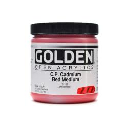Golden OPEN Acrylic Paint, 8 Oz Jar, Cadmium Red Medium (CP)