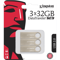 Kingston 32GB USB 2.0 DataTraveler SE9 (Metal casing) (3 Pack) - 32 GB - USB 2.0 Type A - 100 MB/s Read Speed - Silver - 5 Year Warranty - 3 Pack