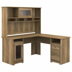 "Bush Furniture Cabot 60""W L-Shaped Computer Desk With Hutch, Reclaimed Pine, Standard Delivery"