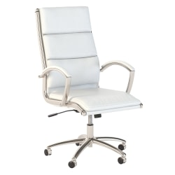 Bush Business Furniture Modelo Bonded Leather High-Back Office Chair, White, Standard Delivery