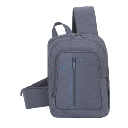 """Rivacase 7529 Canvas Sling Bag With 13.3"""" Laptop Pocket, Gray"""