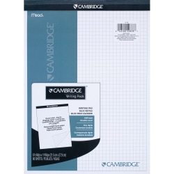 """Mead® Quad-Ruled Stiff-Backed Planning Pad, Letter Size, 8 1/2"""" x 11"""", Assorted Paper Colors, Pad Of 80 Sheets"""