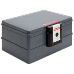"""First Alert 2030F Waterproof Fire Resistant Chest - 0.39 ft³ - Key Lock - Water Proof, Fire Resistant - for Digital Media, Document - Overall Size 12.8"""" x 16"""" - Slate - Resin"""