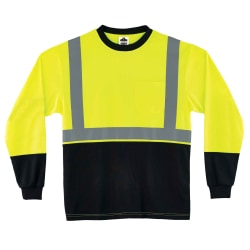 Ergodyne GloWear 8291BK Type-R Class 2 Long-Sleeve T-Shirt, 4XL, Black/Lime
