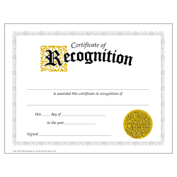 "TREND Certificates, Classic Certificate of Recognition, 8 1/2"" x 11"", Multicolor, Grades 7-8, Pack Of 30"