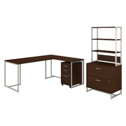 "kathy ireland® Office by Bush Business Furniture Method 72""W L-Shaped Desk With 30""W Return, File Cabinets And Hutch, Century Walnut, Standard Delivery"