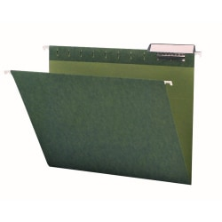 Smead® Premium-Quality Hanging Folders, 1/3-Cut Tabs, Letter Size, Standard Green, Pack Of 25 Folders
