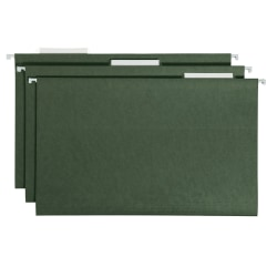 Smead® Premium-Quality Hanging Folders, 1/3 Cut, Legal Size, Standard Green, Pack Of 25