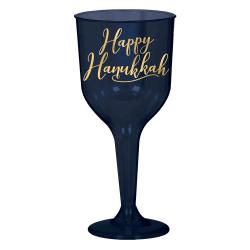 Amscan Hanukkah Plastic Wine Glasses, 10 Oz, Blue/Gold, 8 Glasses Per Pack, Set Of 2 Packs