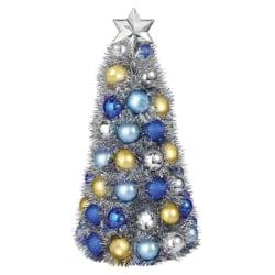"Amscan Chrismukkah Metallic Bulb Tree, 11-3/4"" x 5-1/4"", Gold/Silver/Blue"