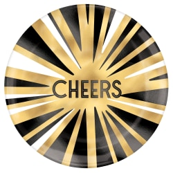 """Amscan New Year's Cheers Plastic Plates, 7-1/2"""", Gold, 4 Plates Per Pack, Case Of 5 Packs"""