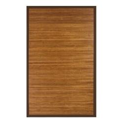 "Anji Mountain Contemporary Natural Bamboo Rug, 24"" x 36"", Brown"