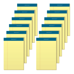 """TOPS™ Docket™ Writing Pads, 5"""" x 8"""", Legal Ruled, 50 Sheets, Canary, Pack Of 12 Pads"""