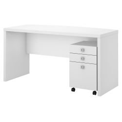 kathy ireland® Office by Bush Business Furniture Echo Bow Front Desk With Mobile File Cabinet, Pure White/Pure White, Standard Delivery