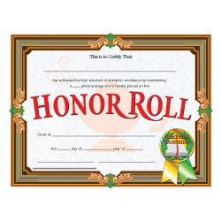 "Flipside Honor Roll Certificate - 11"" x 8.50"" - Laser Compatible - Assorted30 / Pack"