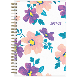 """Blue Sky™ Weekly/Monthly Planner, 5"""" x 8"""", Preppy Floral Purple Frosted, July 2021 To June 2022, 118176"""