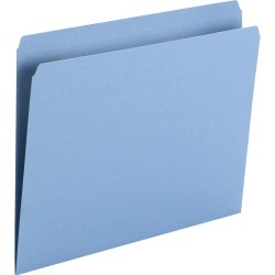 """Smead Top Tab Colored Folders - Letter - 8 1/2"""" x 11"""" Sheet Size - 3/4"""" Expansion - Straight Tab Cut - 11 pt. Folder Thickness - Blue - 1.22 oz - Recycled - 100 / Box"""