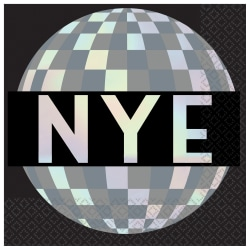 """Amscan New Year's Disco Ball Drop 2-Ply Beverage Napkins, 5"""" x 5"""", Black, 16 Napkins Per Pack, Case Of 4 Packs"""