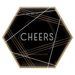 "Amscan New Year's Eve Hexagonal Plates, 9"", Black, 8 Plates Per Pack, Set Of 4 Packs"