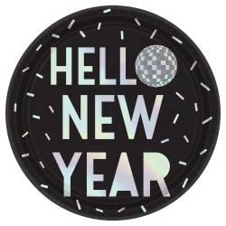 """Amscan New Year's Disco Ball Drop Paper Plates, 9"""", Black, 8 Plates Per Pack, Case Of 4 Packs"""