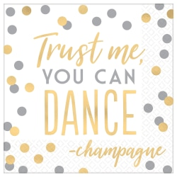 """Amscan New Year's Trust Me You Can Dance 2-Ply Lunch Napkins, 6-1/2"""" x 6-1/2"""", White, 16 Napkins Per Pack, Case Of 3 Packs"""