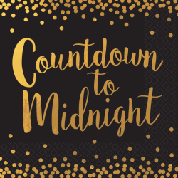"Amscan New Year's Countdown To Midnight 2-Ply Lunch Napkins, 6-1/2"" x 6-1/2"", Black, 16 Napkins Per Pack, Case Of 3 Packs"