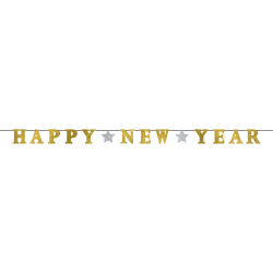 """Amscan Happy New Year Glitter Ribbon Letter Banners, 5"""" x 12', Gold, 1 Banner Per Pack, Case Of 3 Packs"""
